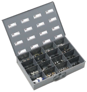 16-compartment parts bin