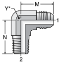 Parker C3MX - JIC Male Elbow - BSPT