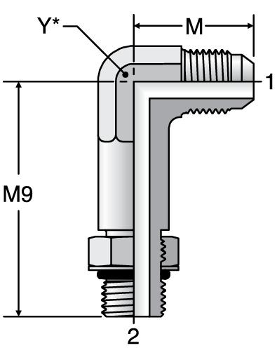Parker CC5OX - JIC Long Straight Thread Connector