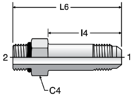 Parker FF5OX - JIC Long Straight Thread Connectors
