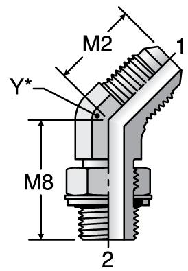 Parker V4OMX - JIC Male 45° Elbow – BSPP