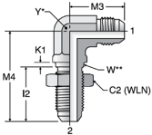 Parker WETX - JIC Bulkhead Union Elbow