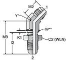 Parker WNTX - JIC 45° Bulkhead Union Elbows