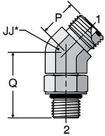 Parker V5OLO - ORFS 45° Straight Thread Elbow