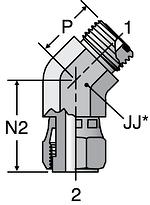 Parker V6LO - ORFS 45° Swivel Nut Elbow