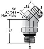 Parker V87OMLO - ORFS 45° Metric Straight Thread Elbow
