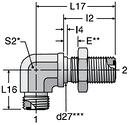 Parker WEMLO - ORFS Metric Bulkhead Union Elbow Straight