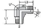 Parker C3P4: JIS 60° Cone / Male BSPT Elbow