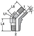 Parker V3P4: JIS 60° Cone / Male BSPT 45° Elbow