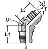 Parker V3T4: JIS 30-Deg Flare to BSPT 45-Deg Male Elbow