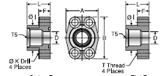 Parker G5Q (Stainless Steel) SAE Port Block Flange Adapter