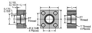 Parker GQS NPTF Port Square Block Flange Adapter