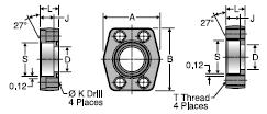 Parker W5Q Flat Weld Socket Block Flange Connector, Pipe