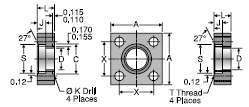 Parker W5SQS Weld Socket Square Block Connector, Pipe