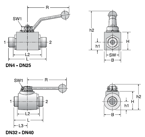 Parker KH Stainless Steel Two-Way Ball Valves