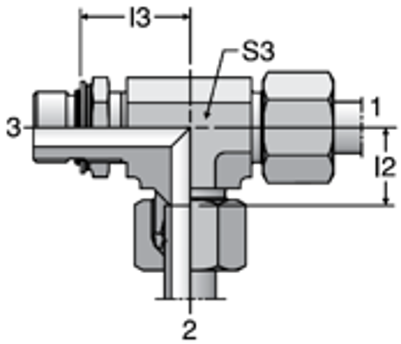 Parker LEE-OR - EO Adjustable Locknut Run Tees