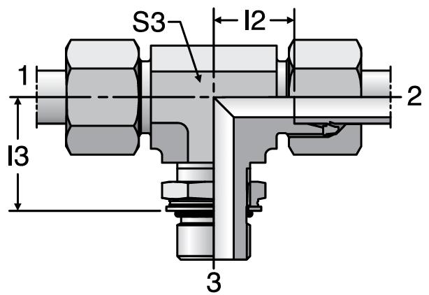 Parker TEE-OR - EO-2 Adjustable Locknut Branch Tees