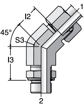 Parker VEE-M - EO-2 Adjustable Locknut 45° Elbow