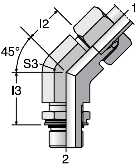 Parker VEE-OR - EO Adjustable Locknut 45° Elbow