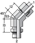 Parker VEE-UNF - EO Adjustable Locknut 45° Elbow