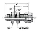 Parker SAE Flareless Bulkhead to 37° Flare Bulkhead Union Male Adapters