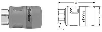 Parker Tool Mate Series RF Interchange Female Pipe Thread Coupler