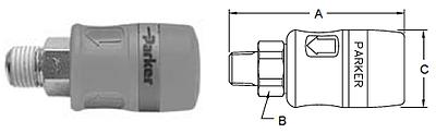 Parker Tool Mate Series RF Interchange Male Pipe Thread Coupler