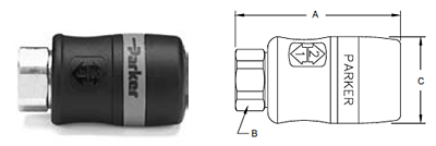 Parker Tool Mate Series Exhaust RF Interchange Female Pipe Thread Coupler