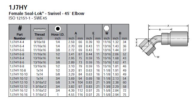 Parker HY series female ORFS swivel 45-degree elbow - 1J7HY