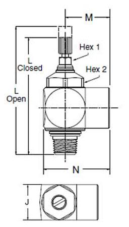 Parker FC702 Flow Control Dimensional Diagram