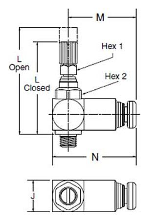 Parker FC701 Flow Control Dimensional Diagram