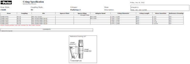 Crimp specs for Parker 7268E hose