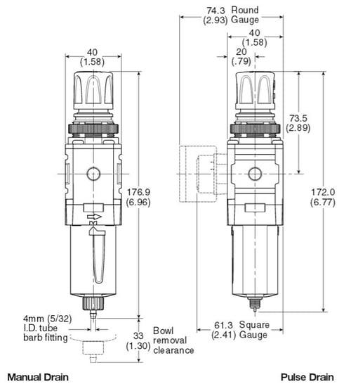 mini-filter-regulator-dimensions