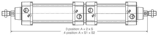 P1D 3 or 4-Position Duplex Cylinder Dimensions