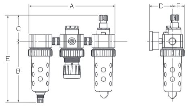 Prep-Air-II-05A-Economy-Three-Unit-Close-Nippled-Combination-Dimensions