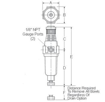 Prep-Air-II-14E-Miniature-Piggyback-Filter-Regulator-Dimensions