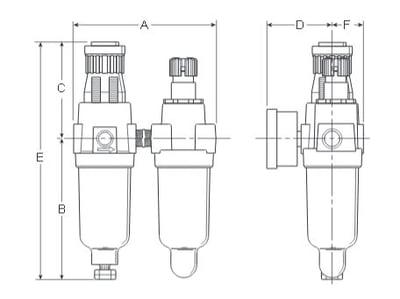 Prep-Air-II-14G-Miniature-Two-Unit-Close-Nippled-Combination-Dimensions