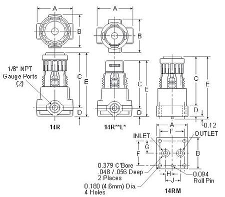 Prep-Air-II-14R-Miniature-Regulator-Dimensions