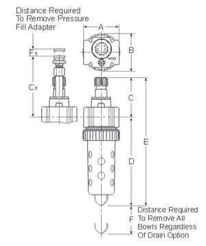 Prep-Air-II-15L-Economy-Micro-Mist-Lubricator-Dimensions