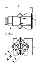 368PLPD Double Y Male Connector BSPP Dimensions