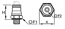 68PLM Male Connector BSPP Dimensions