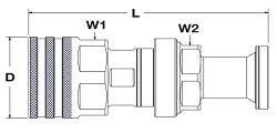 Parker FET Coupler Code 62 Flange Head Dimensions