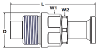 Parker FET Nipple Code 62 Flange Head Dimensions