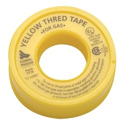Yellow PTFE Thread Seal Tape for Gas Lines