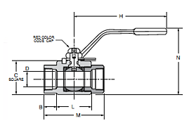 VP500HP-X Locking Female-Female Ball Valve Dimensions