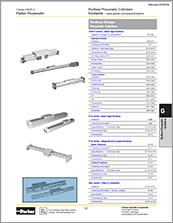 parker - rodless cylinders guide rails - catalog# 0900P