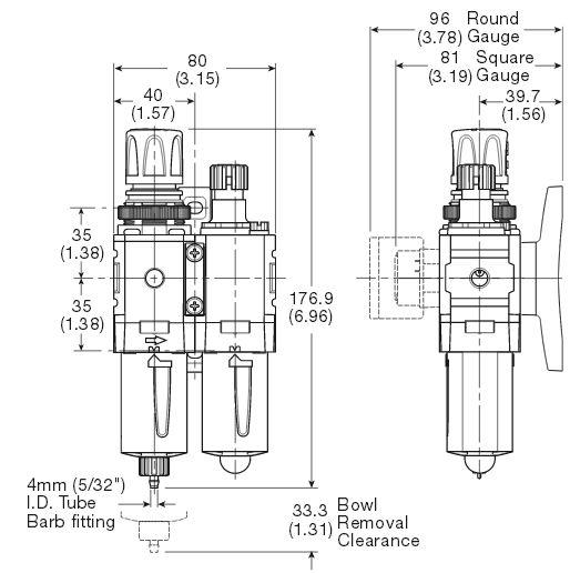 p31-filterregulator-lubricator-dimensions